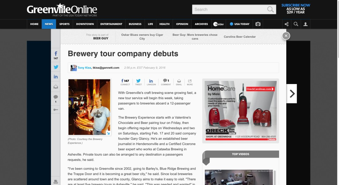 Brewery tour company debuts – Greenville News
